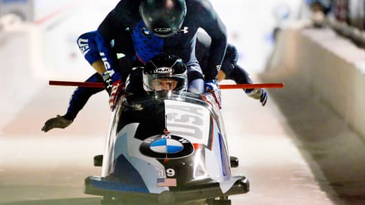 Justin Olsen, Evan Weinstock, Steven Langton and Christopher Fogt of the United States compete in the 4-man Bobsleigh during the BMW IBSF Bobsleigh and Skeleton World Cup on November 17, 2017 in Park City, Utah.