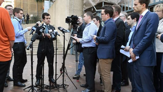 Australian Labor Party Senator Sam Dastyari speaks to the media in Sydney, Australia, on September 6, 2016, about a foreign expenses scandal involving a Chinese company.