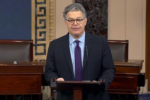 In this image from video from Senate Television, Sen. Al Franken, D-Minn., speaks on the Senate floor of the Capitol in Washington, Thursday morning, Dec. 7, 2017.