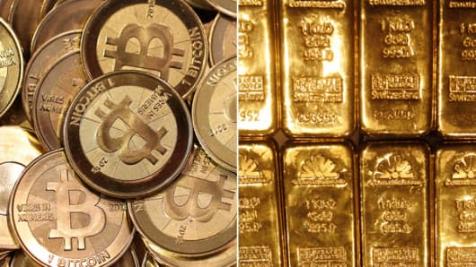 Bitcoin and gold bullion.