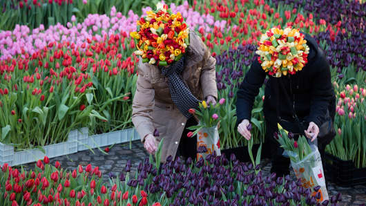 People attend Dutch National Tulip Day in front of the Royal Palace at Dam Square with the theme 'share joy, give tulips',