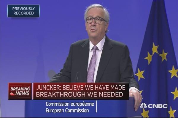 Decision on sufficient progress in hands of EU 27: Juncker