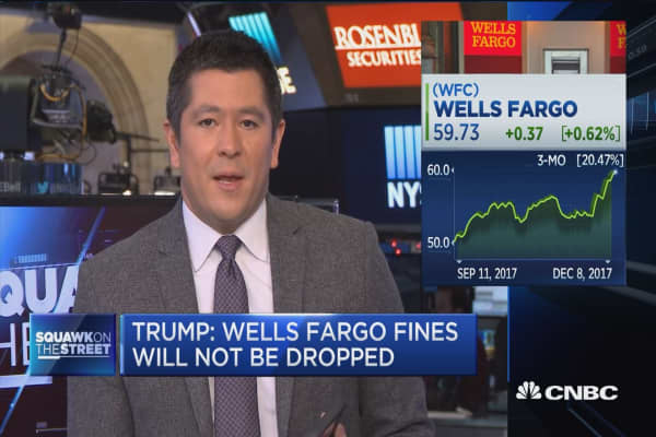 Trump tweets that Wells Fargo fines won't be dropped