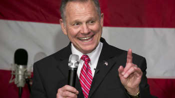 Roy Moore, Republican candidate for U.S. Senate from Alabama, smiles as he speaks during a campaign rally in Fairhope, Alabama, on Tuesday, Dec. 5, 2017.