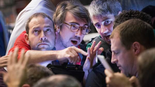 Traders in the Standard & Poor's 500 stock index options pit at the Chicago Board Options Exchange (CBOE).