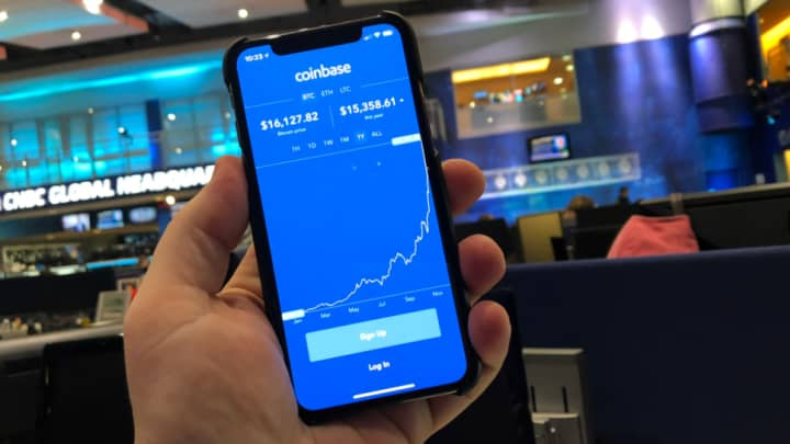 Coinbase screen on a mobile phone