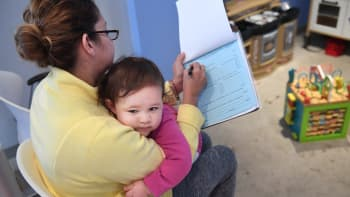 Marbell Castillo holds her granddaughter, Maia Powell for a check-up appointment at Burke Pediatrics on Tuesday October 31, 2017 in Burke. Maia is insured through the Children's Health Insurance Program.