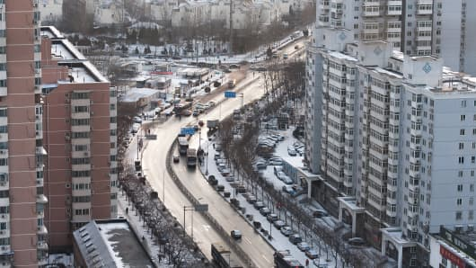 Snow covers on the roads and buildings on January 17, 2016 in Beijing, China.