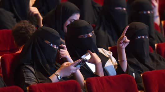 Saudi women attend the 'Short Film Competition 2' festival, a precursor to the expected lift on the kingdom's ban on cinemas.