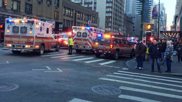 NYFD responds to an explosion at 42nd St and 8th Ave. on Dec. 11th, 2017.