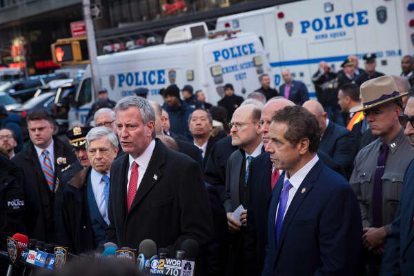 New York City Mayor Bill de Blasio speaks during a press briefing outside the New York Port Authority Bus Terminal, December 11, 2017 in New York City.