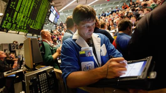 A trader at the Chicago Board Options Exchange (CBOE) in Chicago, Illinois.