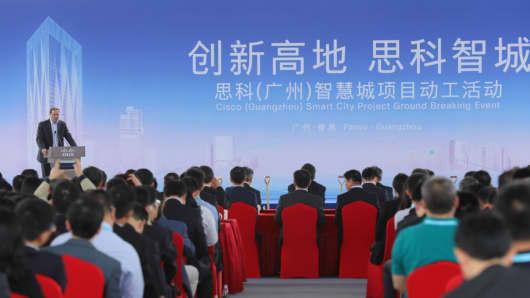 Cisco CEO Chuck Robbins in Guangzhou, China