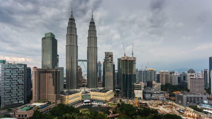 The Petronas Twin Towers in Kuala Lumpur, Malaysia.