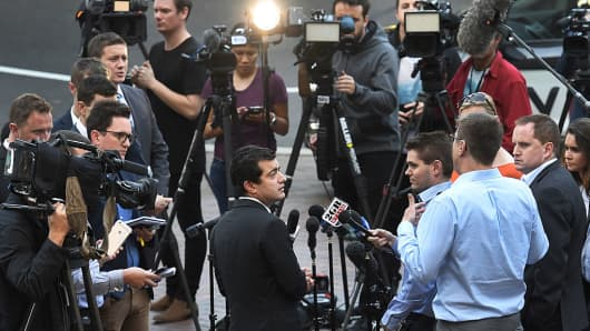 Australian politician Sam Dastyari makes a public apology in Sydney on September 6, 2016, after asking a company with links to the Chinese government to pay a $1,273 bill incurred by his office.