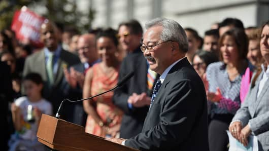 Ed Lee, mayor of San Francisco, speaking during a news conference outside City Hall. Photographer: Josh Edelson/Bloomberg via Getty Images
