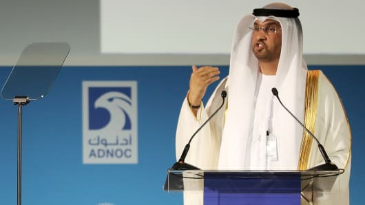 UAE Minister of State and ADNOC Group CEO, Sultan Ahmed al-Jaber, speaks during the Abu Dhabi International Petroleum Exhibion and Conference (ADIPEC) on November 13, 2017, at the Abu Dhabi National Exhibition Centre.