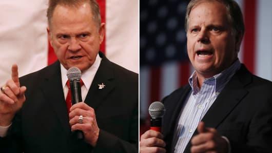 Republican Senatorial candidate Roy Moore (l) and Doug Jones, Democratic Senatorial candidate.