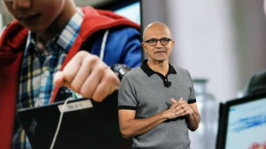 Microsoft CEO Satya Nadella at a company event in New York in May 2017.