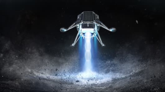 An artist's rendering of iSpace's Mission 2 landing on the moon's surface.