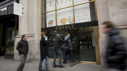 Customers enter an Eataly location in the Flatiron district of New York.