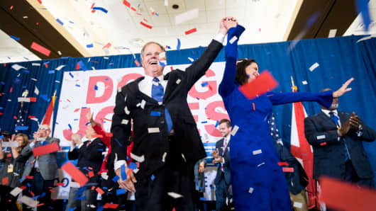 Alabama Democrat Doug Jones celebrates his victory over Judge Roy Moore at the Sheraton in Birmingham, Ala., on Tuesday, Dec. 12, 2017. Jones faced off against Judge Roy Moore in a special election for Jeff Sessions' seat in the U.S. Senate.