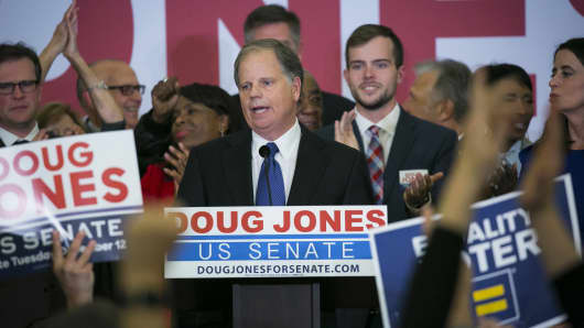 Attendees cheer as Senator-elect Doug Jones, a Democrat from Alabama, center, addresses the audience at an election night party in Birmingham, Alabama, U.S., on Tuesday, Dec. 12, 2017.