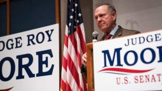 Republican U.S. Senate candidate Roy Moore speaks after loosing, during an election-night watch party at the RSA activity center in Montgomery, Ala. on Tuesday, Dec. 12, 2017.