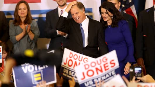 Democratic U.S. Senator elect Doug Jones greets supporters during his election night gathering the Sheraton Hotel on December 12, 2017 in Birmingham, Alabama.