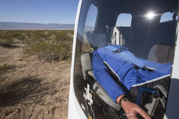 "Blue Origin's test dummy, ""Mannequin Skywalker"""