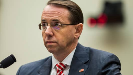 U.S. Deputy Attorney General Rod Rosenstein testifies during a a House Judiciary Committee hearing on December 13, 2017 in Washington, DC.