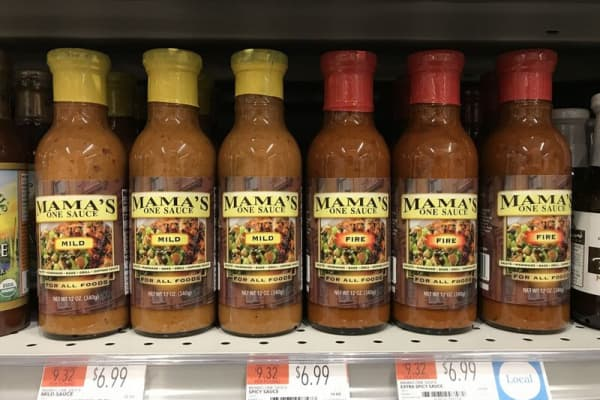 Mama's One Sauce on shelves at Whole Foods