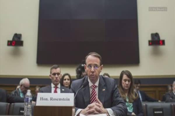 DOJ's Rod Rosenstein says he does not see a reason to fire Robert Mueller