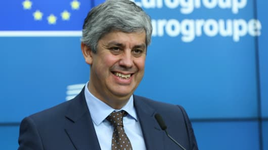 New Eurogroup President Portuguese Finance Minister Mario Centeno gestures during a press conference on his election as new Eurogroup chief at the European Council in Brussels, Belgium on December 4, 2017.
