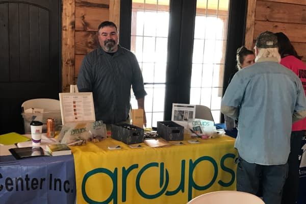Joseph Ragsdale, counselor in charge of Groups' office in North Vernon, Indiana, at a community recovery rally.