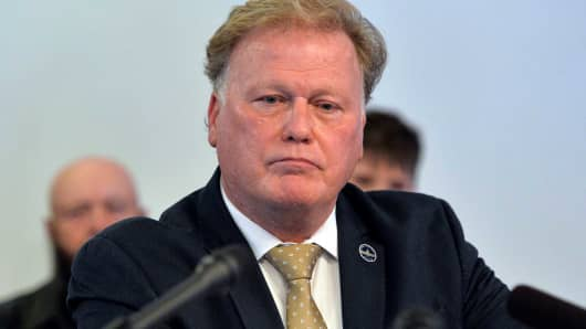 In this Tuesday, Dec. 12, 2017, file photo, Kentucky State Rep. Republican Dan Johnson addresses the public from his church regarding sexual assault allegations in Louisville, Ky. Johnson died Wednesday night, Dec. 13, 2017.