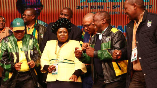 South African President Jacob Zuma, Nkosazana Dlamini-Zuma, Deputy President Cyril Ramaphosa and Zweli Mkhize during the African National Congress' policy conference on July 5, 2017, in Johannesburg, South Africa.