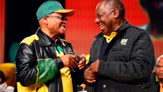 President Jacob Zuma and his deputy Cyril Ramaphosa during the African National Congress' policy conference on July 1, 2017, in Johannesburg, South Africa.