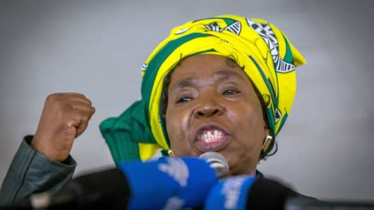 Candidate for South Africa's ruling ANC leadership Nkosazana Dlamini-Zuma addresses her first campaign rally on September 24, 2017, in Harding, South Africa.