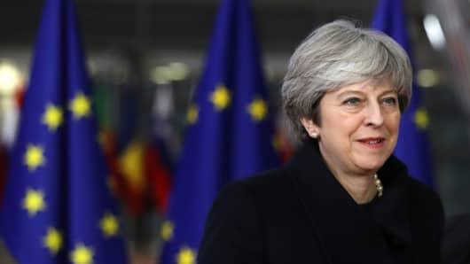 U.K. Prime Minister Theresa May arrived for the European Union leaders summit in Brussels, Belgium.