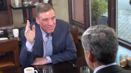 Sen. Mark Warner (D-VA) speaks with CNBC's John Harwood at the Alexandrian Hotel in Alexandria, VA.