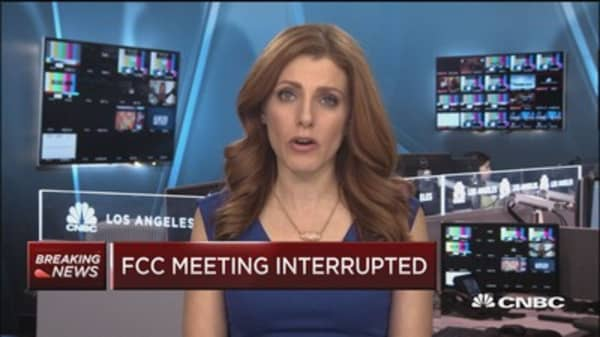 FCC meeting interrupted on advice of security