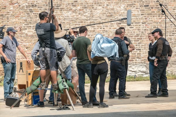 On set of Chicago PD at Chicago Film Studios.