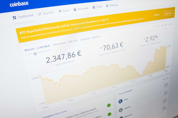 A price charts of Bitcoin on a Coinbase web platform.