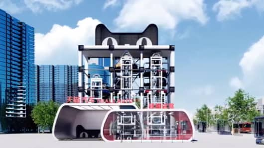 An illustration of Alibaba's planned car vending machines — automated facilities which consumers can visit to test drive cars they want to buy.