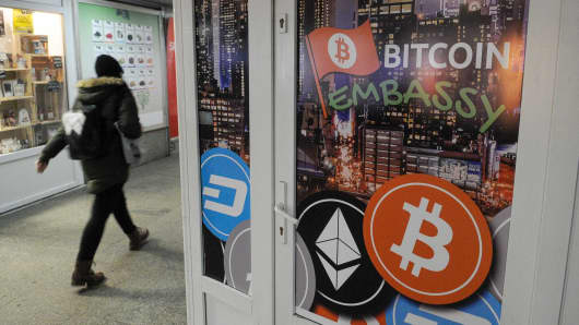 A bitcoin embassy is seen in an underpass in Bydgoszcz, Poland.