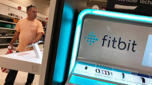 A Fitbit display is seen at a Target store in Los Angeles.