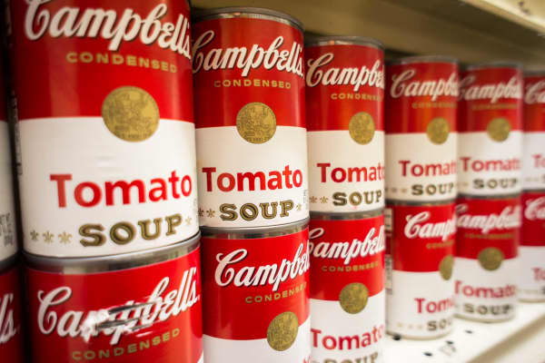 Cans of Campbell's Tomato Soup are seen in a supermarket in New York.