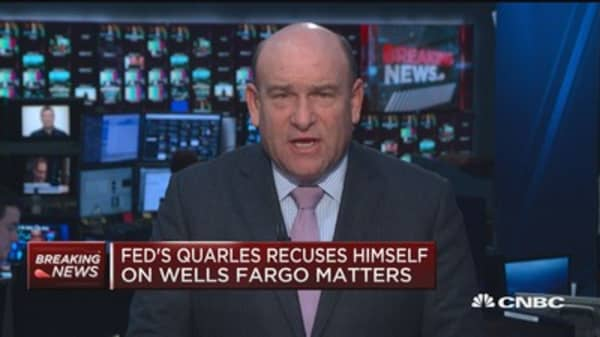 Fed's Quarles recuses himself on Wells Fargo matters