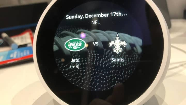 The Echo Spot shows me the upcoming Jets game